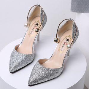 Affordable Black Evening Party Womens Shoes 2020 Sequins 8 cm Stiletto Heels Pointed Toe High Heels