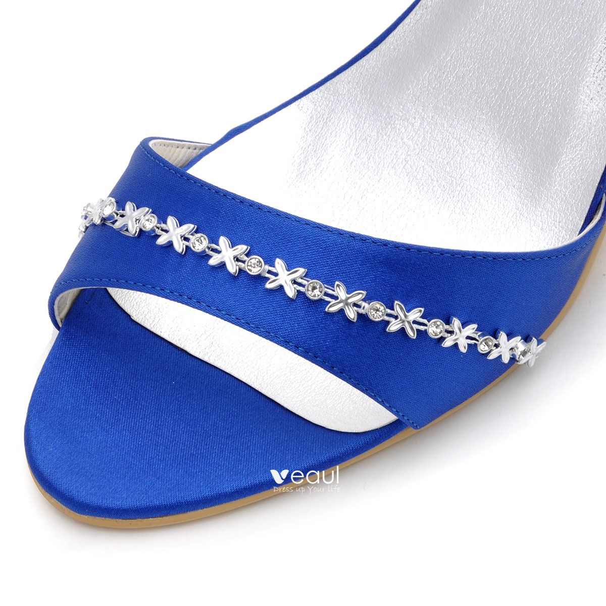 Elegant Women Party Shoes Blue Satin Wedding Shoes Diamond Chain Decoration