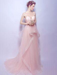 Schöne Abendkleider 2017 U-ausschnitt Flügelärmel Perlen Applikationen Blumen Perle Rosa Langes Kleid