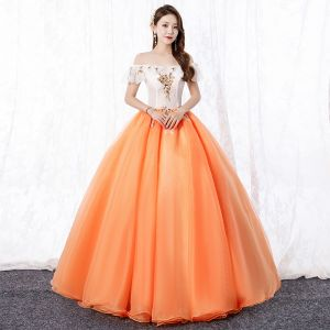 Elegant Orange Prom Dresses 2020 A-Line / Princess Off-The-Shoulder Lace Flower Short Sleeve Backless Floor-Length / Long Formal Dresses