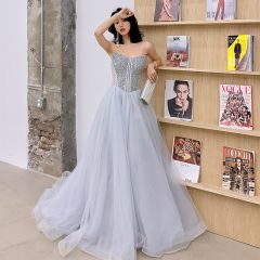 Charming Grey Prom Dresses 2019 A-Line / Princess Strapless Sequins Sleeveless Backless Sweep Train Formal Dresses