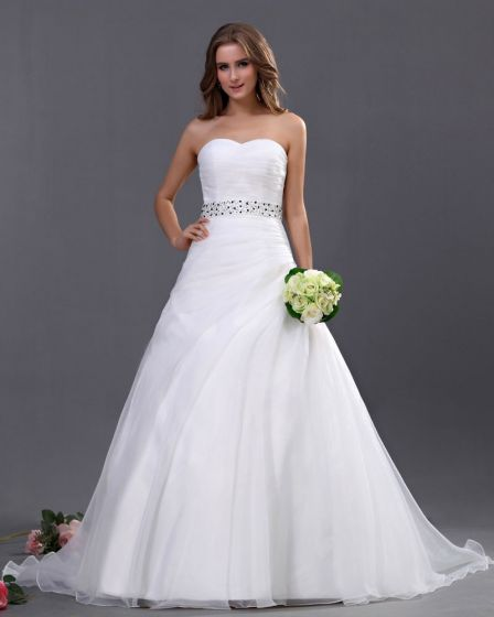 Organza Perle Udsmykning Kæreste Kapel A-line Brudekjoler Bryllupskjoler