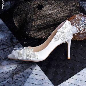 Mode Ivory Brudesko 2019 Læder Applikationsbroderi Perle Rhinestone 9 cm Stiletter Spidse Tå Bryllup Pumps