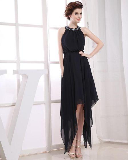 Kantar Rekawow Szyfon Linke Asymetryczne Marszczona Zamek Backless Suknie Balowe Sukienki Na Bal