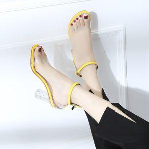 Doorzichtig Gele Toevallig Zomer Sandalen Dames 2018 Enkelband 7 cm Dikke Hak Peep Toe Sandalen