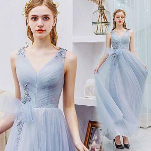 Elegante Grau Ballkleider 2019 A Linie V-Ausschnitt Spitze Blumen Schleife Ärmellos Rückenfreies Lange Festliche Kleider
