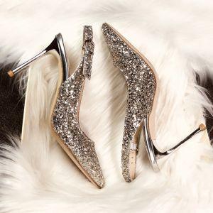Brillante Champán Noche Zapatos De Mujer 2019 Hebilla Cuero Lentejuelas Rhinestone 9 cm Stilettos / Tacones De Aguja Punta Estrecha High Heels