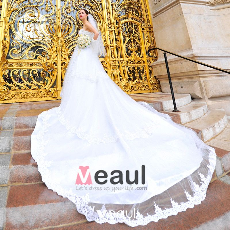 Satin Tulle Lace Beading Sweetheart Floor Length Cathedral Train A-Line Wedding Dress