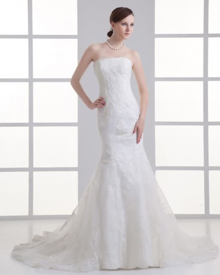 Tulle Applique Beading Court Train Strapless Mermaid Wedding Dress