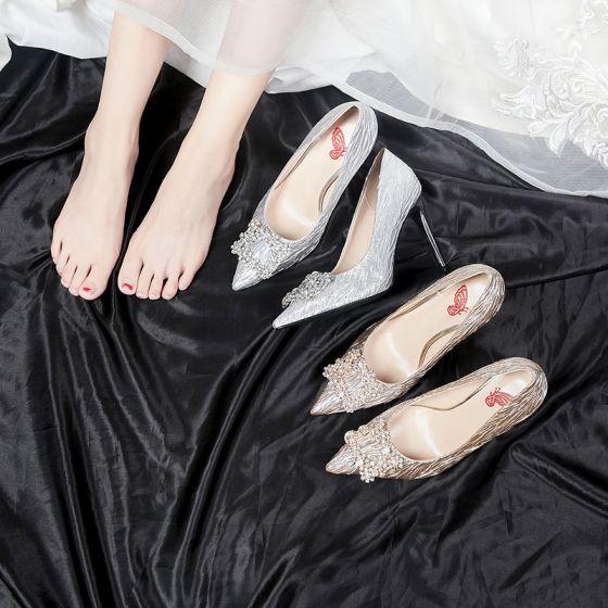 Modern Zilveren Bruidsschoenen 2020 9 cm Kralen Rhinestone Gestreept Feest Avond Spitse Neus Damesschoenen