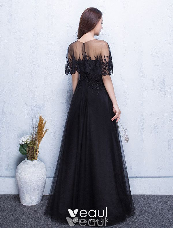 Beautiful Evening Dresses 2017 Applique Lace With Black Long Dress