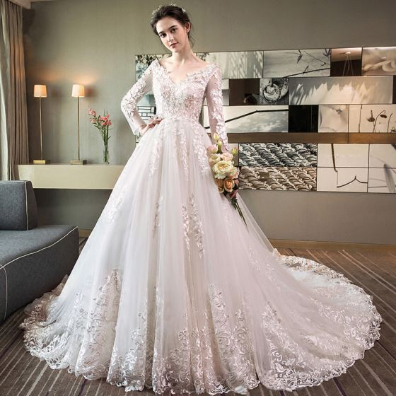 Chic / Beautiful White Pierced Wedding Dresses 2018 A-Line / Princess V-Neck Long Sleeve Backless Appliques Lace Ruffle Cathedral Train