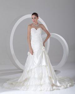 Satin Flæse Blomst Perler Kæreste Domstol Tog Bolden Kjole Kvinder En Linje Brudekjole