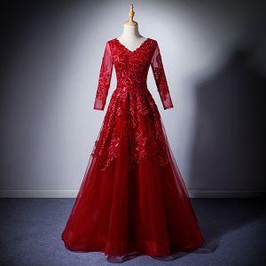 Mode Burgunderrot Abendkleider 2019 A Linie V-Ausschnitt Lange Ärmel Applikationen Spitze Pailletten Lange Rüschen Rückenfreies Festliche Kleider