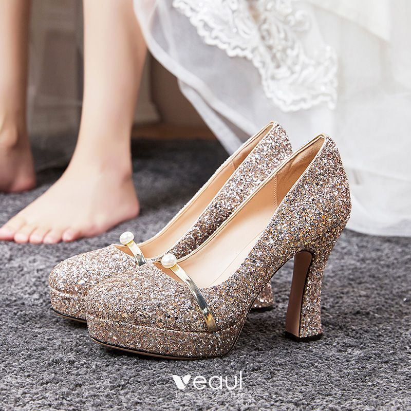 Sparkly Rose Gold Wedding Shoes 2020