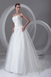 Organza Ruffle Strapless Court Train Ball Gown Women A Line Wedding Dress