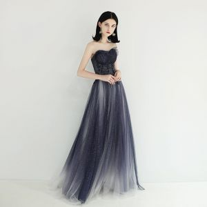 Charming Navy Blue Evening Dresses  2019 A-Line / Princess Sweetheart Sleeveless Beading Glitter Tulle Floor-Length / Long Ruffle Backless Formal Dresses