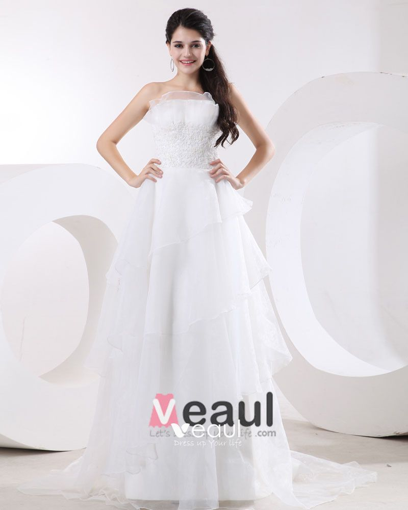Organza Applique Strapless Empire Wedding Dresses