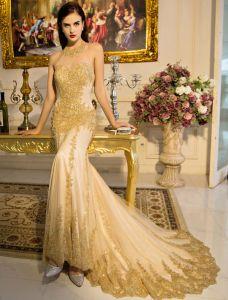 Reizvolles Meerjungfrau Abendkleid 2017 Gold Glitter Festliche Kleider Rückenfrei