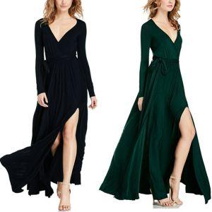 Sexy Noire Robes longues 2018 V-Cou Manches Longues Ceinture Fendue devant Longue Volants Vêtements Femme
