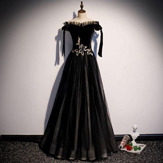 Elegante Zwarte Suede Avondjurken 2020 A lijn Uit De Schouder Korte Mouwen Glans Tule Lange Ruche Ruglooze Gelegenheid Jurken