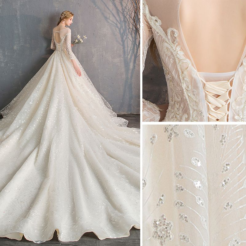 Luxury / Gorgeous Champagne Wedding Dresses 2019 A-Line / Princess Scoop Neck Beading Crystal Sequins Lace Flower Long Sleeve Backless Royal Train