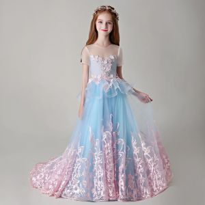 7810cb07d1c Best Pool Blue See-through Flower Girl Dresses 2019 A-Line   Princess Scoop
