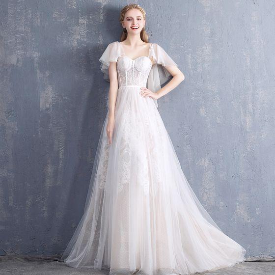 Modest / Simple Champagne Wedding Dresses 2018 A-Line / Princess Sweetheart Short Sleeve Backless Sash Sweep Train Ruffle