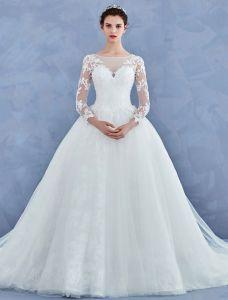 Robe De Mariage Simple 2017 Sweetheart Texture Dentelle Ruffle Tulle Robes De Mariée Avec Le Train