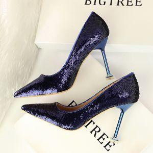 Scintillantes Violet Soirée Chaussures Femmes 2018 Paillettes 9 cm Talons Aiguilles À Bout Pointu Escarpins