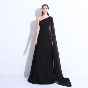 Schlicht Abendkleider 2018 A Linie One-Shoulder Rückenfreies Ärmellos Lange Festliche Kleider