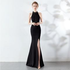 Sexy Black Evening Dresses  2019 Trumpet / Mermaid Halter Beading Pearl Sleeveless Backless Floor-Length / Long Formal Dresses