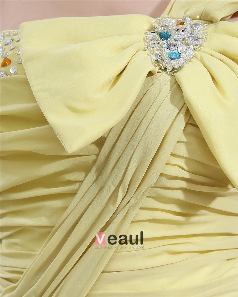 En Mousseline A Volants Perles Bowtie Une Epaule-parole Longueur Des Robes De Bal