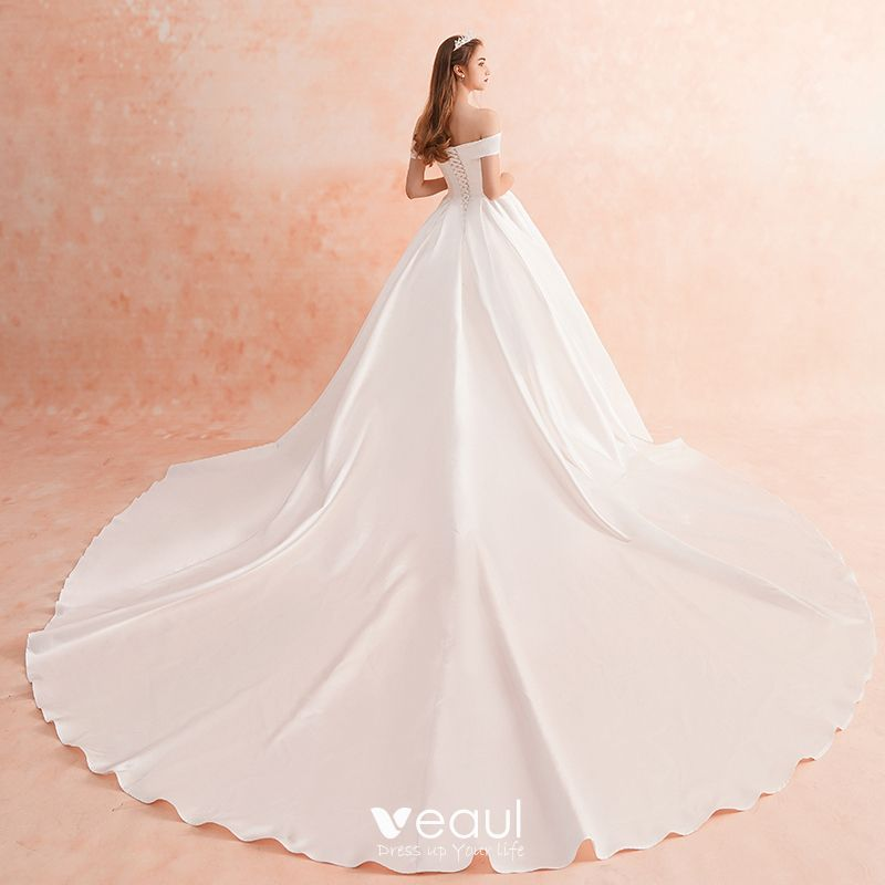 Modest / Simple Ivory Wedding Dresses 2019 A-Line