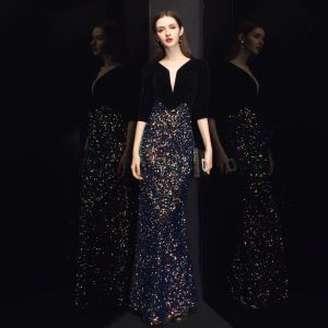 Chic / Beautiful Black Velour Evening Dresses  2020 Trumpet / Mermaid Deep V-Neck 3/4 Sleeve Sequins Floor-Length / Long Ruffle Formal Dresses