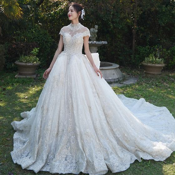 Vintage / Retro Luxury / Gorgeous See-through Champagne Wedding Dresses 2019 A-Line / Princess High Neck Short Sleeve Beading Appliques Lace Glitter Tulle Cathedral Train Ruffle