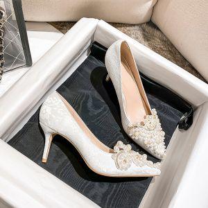 Edles Ivory / Creme Strass Perle Brautschuhe 2020 7 cm Stilettos Spitzschuh Hochzeit Pumps