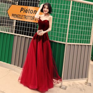 Chic / Beautiful Burgundy Evening Dresses  2019 A-Line / Princess Sweetheart Suede Sleeveless Backless Floor-Length / Long Formal Dresses