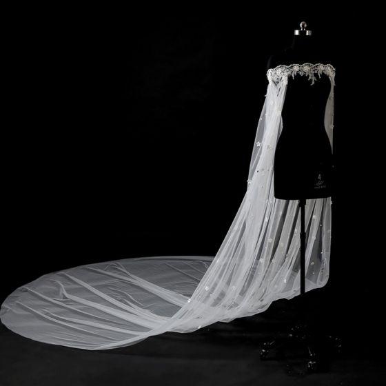 Schöne Weiß Brautschleier 2017 Tülle Stickerei Hochzeit