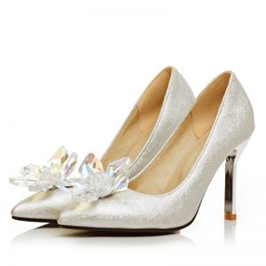Chic / Beautiful Charming Silver Wedding Dating Beading Crystal Wedding Shoes 2018