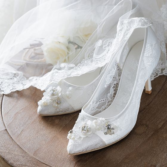 hermoso blanco verano zapatos de novia 2018 cuero de encaje perla