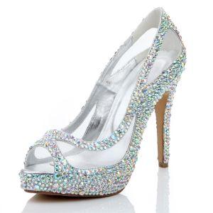 Sexy Multi-Couleurs Soirée Faux Diamant Sandales Femme 2020 Cuir 12 cm Talons Aiguilles Peep Toes / Bout Ouvert Sandales