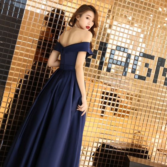 Chic / Beautiful Navy Blue Satin Evening Dresses  2019 A-Line / Princess Off-The-Shoulder Short Sleeve Rhinestone Sash Floor-Length / Long Ruffle Backless Formal Dresses