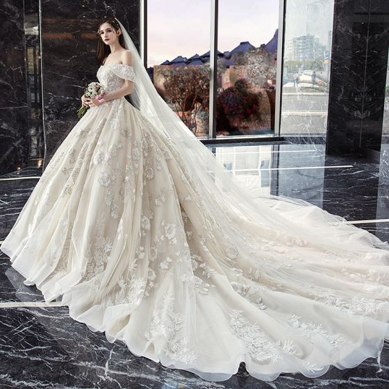 Classy Ivory Wedding Dresses 2019 Ball Gown Off-The