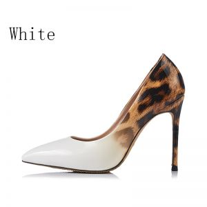 Modern / Fashion White 2018 10 cm High Heels Casual Leatherette Leopard Print Printing Pointed Toe Heels Womens Shoes