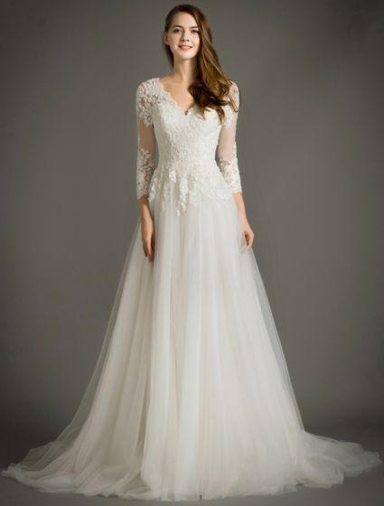 Elegant A-line V-ringning 3/4 Ärm Applikationer Spets Bröllopsklänningar