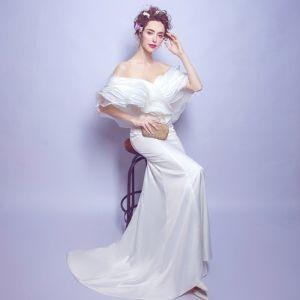 Schlicht Weiß Abendkleider 2018 Mermaid Lange Tülle Rückenfreies Bandeau Abend Festliche Kleider