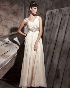 Retro Bodenlange V-ausschnitt Tencel Ärmellos Reißverschluss Abendkleider