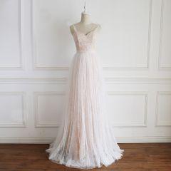 Charmant Champagne Robe De Mariée 2020 Princesse Bretelles Spaghetti En Dentelle Fleur Sans Manches Dos Nu Longue