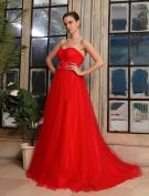 2015 Empire Sweetheart Flower Sash Pregnant Tulle Red Wedding Dress